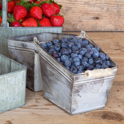 Basket Double Berry Basket Made of Tin with Handle #800-75