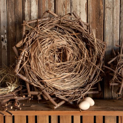 Crow's Nest Natural Woven Nest with Straw and Sticks #800-104