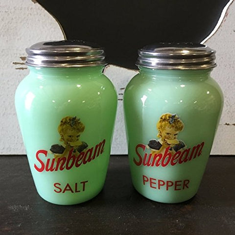 Jadeite Green Salt and Pepper Shakers Pair Reproduction Sunbeam Advertising #500