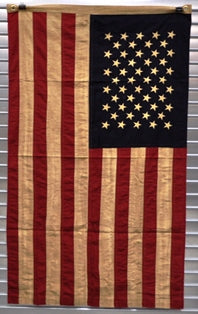 American Flag Tea Stained Vintage Style Red White Blue 4th of July #1025