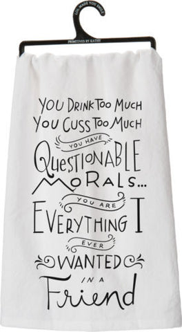 "Tea Towel ""Drink Cuss too Much"""