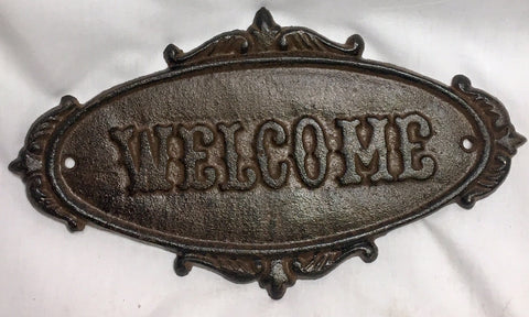 "Cast Iron Sign ""Welcome""  #236"