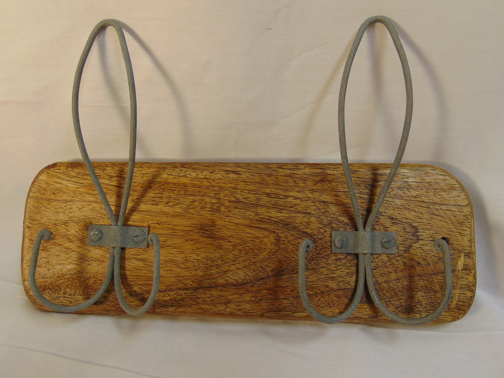 Wall Hook Wooden Base with 2 Metal Hooks #800-25