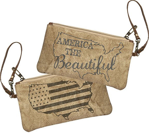 "Canvas Change Purse with Leather Strap ""America the Beautiful"" Wristlet #925"