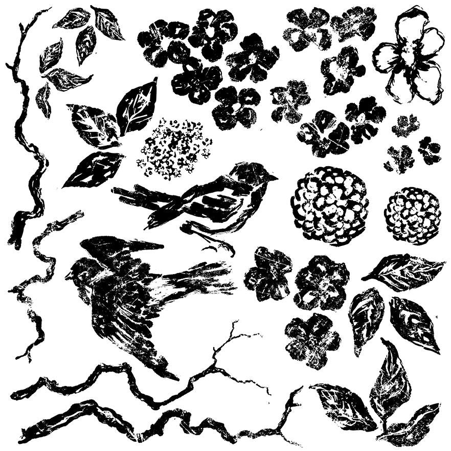 Decor Stamp Birds Branches Blossoms 12x12""