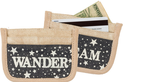 "Canvas Bag ""Dream"" ""Wander"" Small Credit Card Wallet #926"