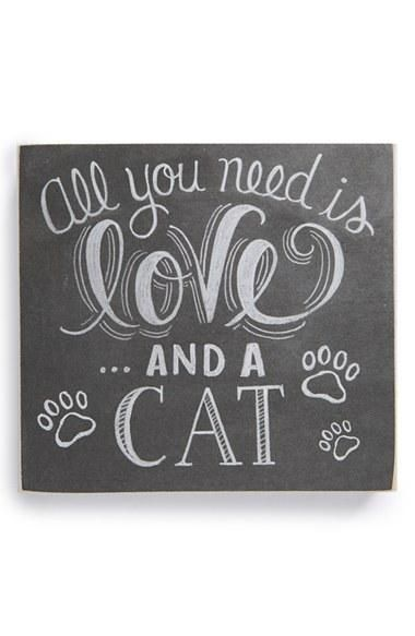 Box Sign All You Need Is Love And A Cat #989