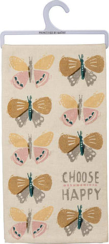 "Tea Towel Dish Cloth Spring ""Choose Happy"""