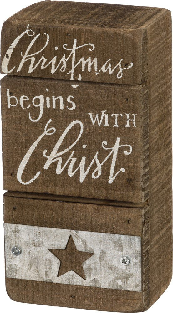 Christmas Begins with Christ Wooden Box Sign #906