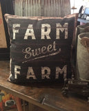 "Throw Accent Pillow ""Farm Sweet Farm"" Farmhouse Decor"