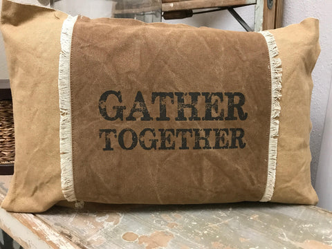 "Throw Accent Pillow Decorative Canvas ""Gather Together"""