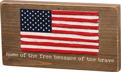 Home of the Free American Flag Decorative Plaque #1061