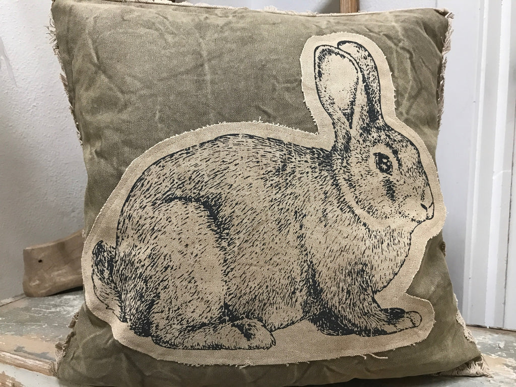 Throw Accent Pillow Decorative Garden Theme with Bunny and Cabbage