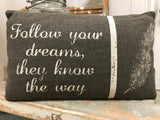 "Pillow ""Follow Your Dreams They know the way"" Feathers Decorative Neutral Home Decor #P-101"