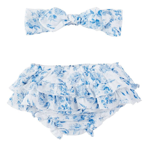 Muslin Blue Toile Bloomer & Headband set