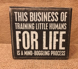 "Box Sign ""Business of Training Little Humas""  #786"