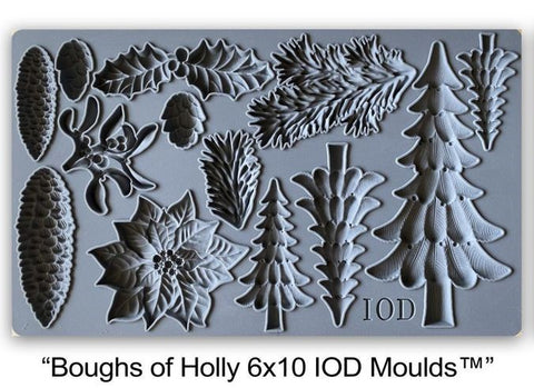 IOD Decor Mould Boughs of Holly by Iron Orchid Designs