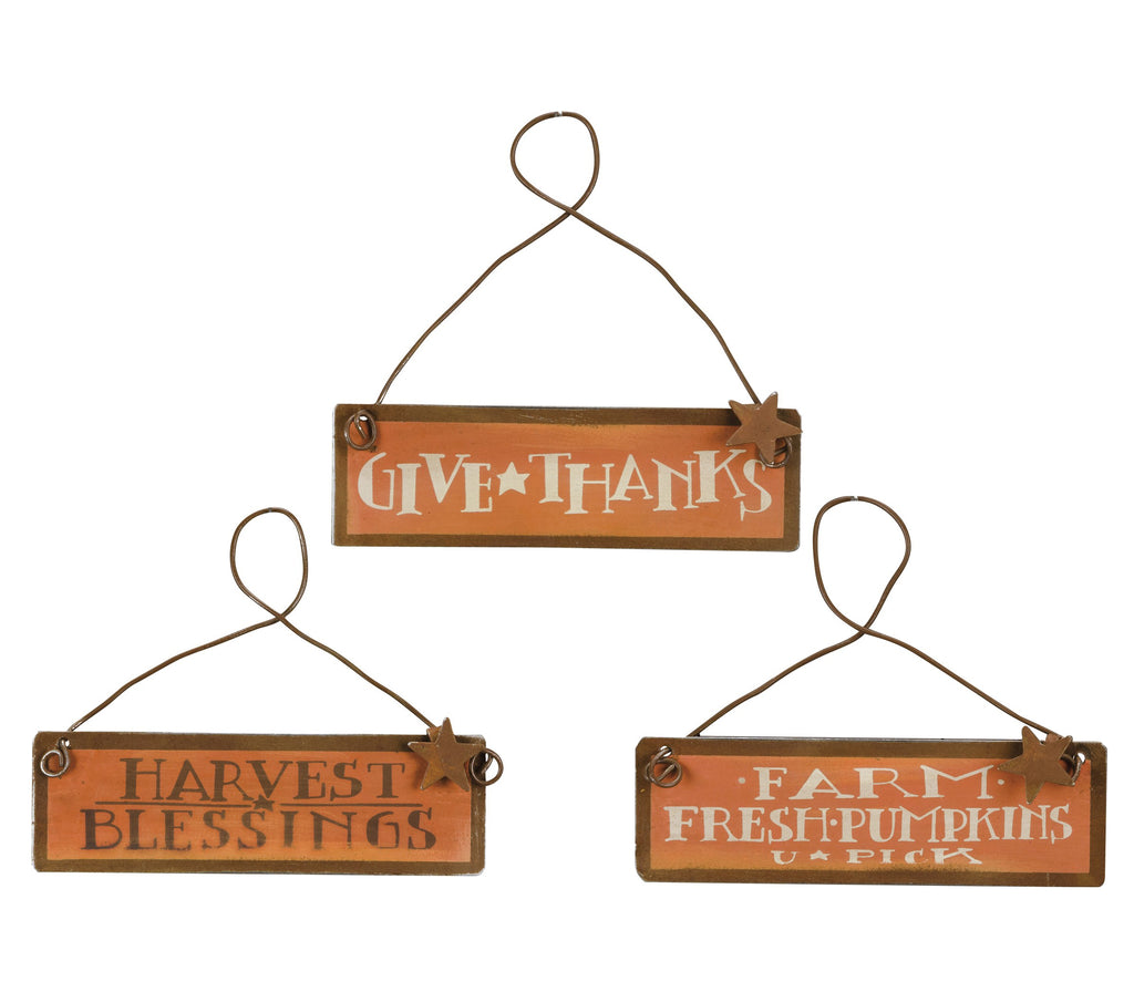 Fall Ornaments Set of 3 Tin Signs Harvest Autumn Thanksgiving Pumpkin Decor
