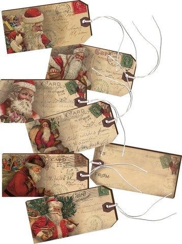 Santa Wooden Decorative Gift Tags Set of 5 #912