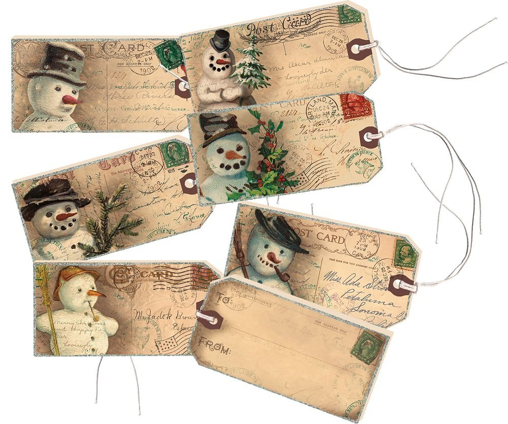 Snowman Wooden Decorative Gift Tags/ Ornaments Set of 6 #911