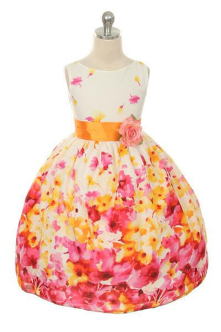 Flower Printed Dress in Fuchsia