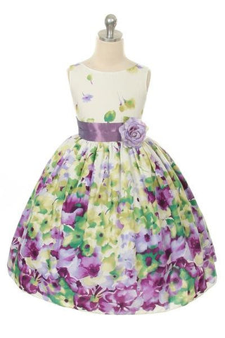 Flower Printed Dress in Lavender