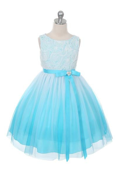Ombre Rosette Dress in Aqua
