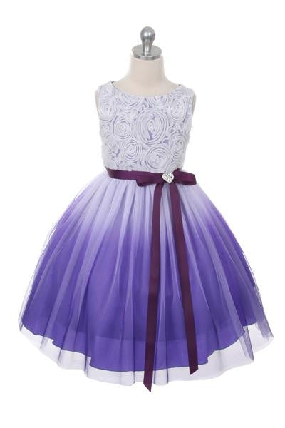 Ombre Rosette Dress in Purple
