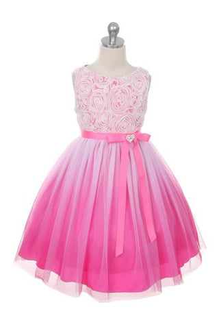 Ombre Rosette Dress in Fuchsia