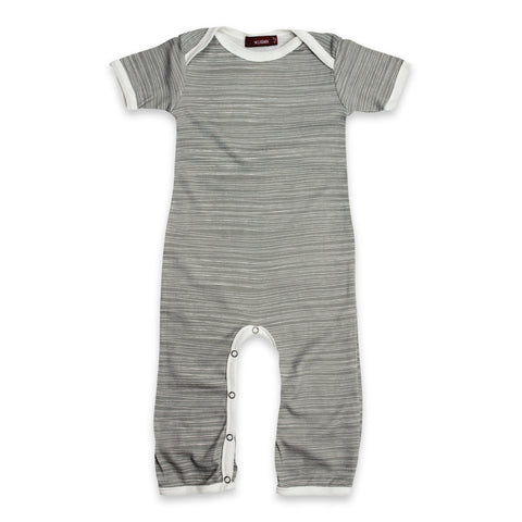 Short Sleeve Romper - Grey Stripe