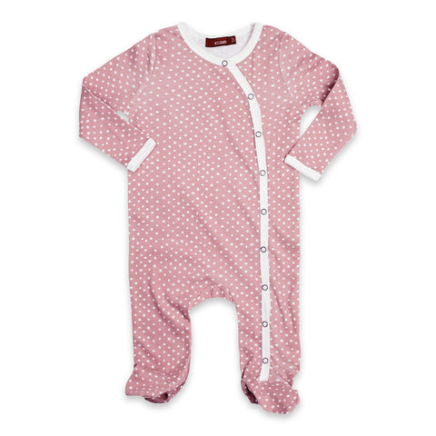 Footed Romper - Rose Dot