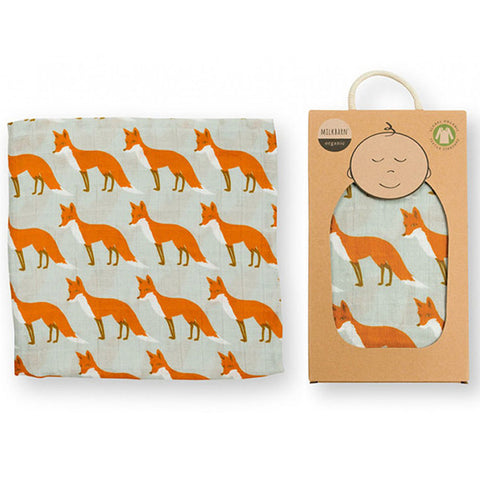 Muslin Swaddle Blanket- Orange Fox
