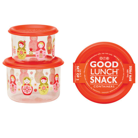 Matryoshka Doll Good Lunch Snack Containers Small Set of 2