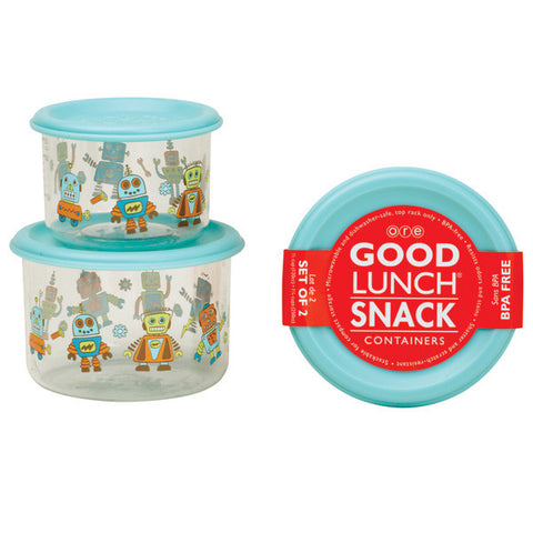 Retro Robot Good Lunch Snack Containers Small Set of 2
