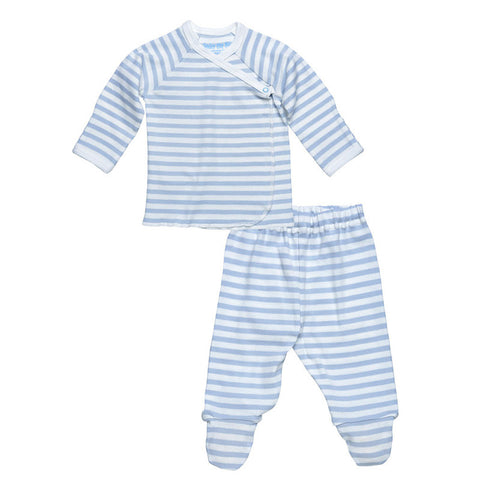 Side Snap Tee and Footed Pant Set - Blue