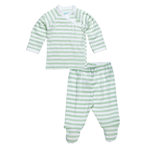 Side Snap Tee and Footed Pant Set - Sage