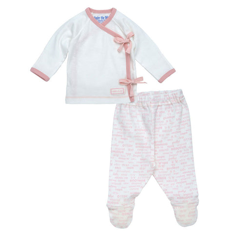 Side Tie Layette Set - Blush Pink