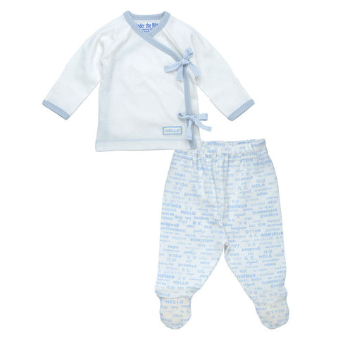 Side Tie Layette Set - Ice Blue