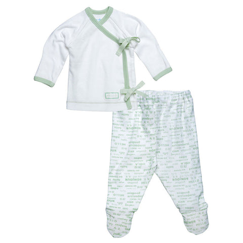 Side Tie Layette Set - Sage