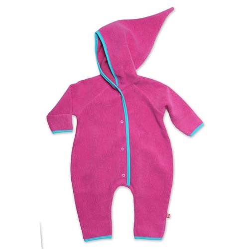 Cozie Fleece Elf Romper - Fuchsia