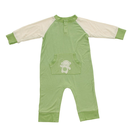 Bamboo Long Sleeve Romper - Pistachio Monkey