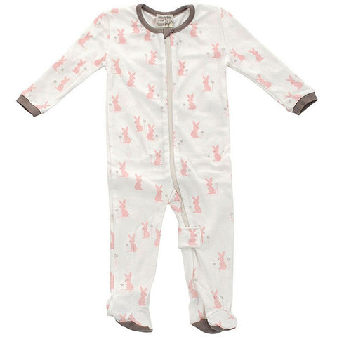 Organic Cotton Footed Sleeper – Blush Bunny