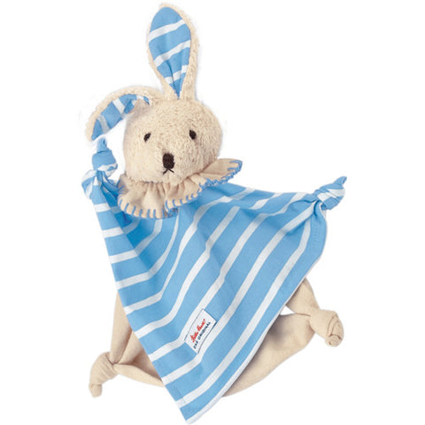 Organic Towel Doll Striped Blue Bunny
