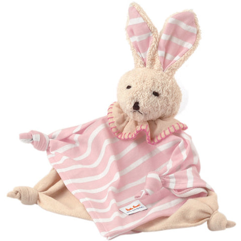 Organic Towel Doll Striped Pink Bunny