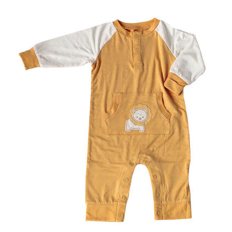 Bamboo Long Sleeve Romper - Orangeade Lion