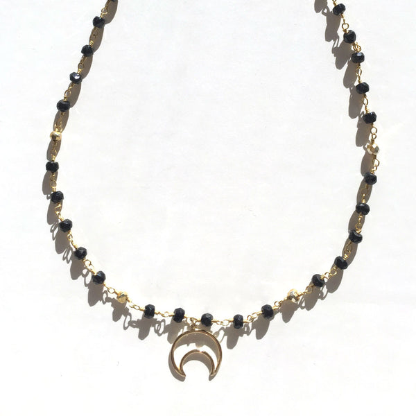 BLACK & GOLD MOON NECKLACE