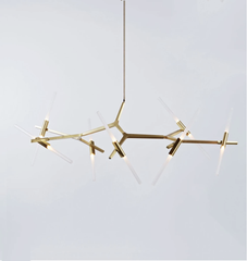 Chandelier - 14 Lights (Brushed brass/Straight-cut glass)