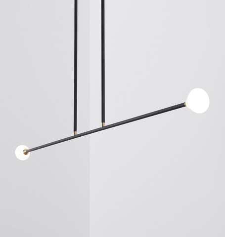 Chandelier - 2 Lights (Matte black/Brushed brass)