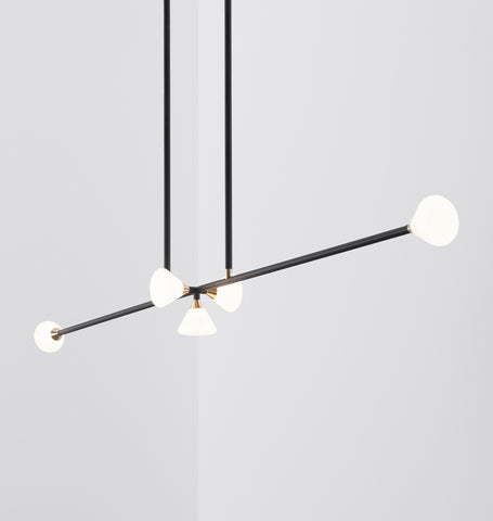 Chandelier - 5 Lights (Matte black/Brushed brass)