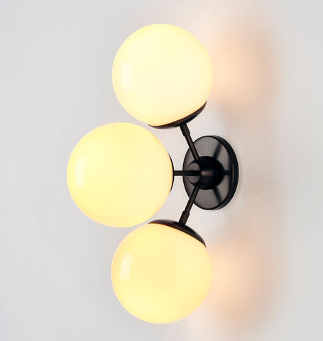 Sconce - 3 Globes (Black/Cream)